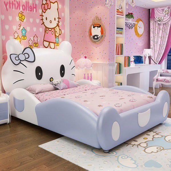 Giường Ngủ Hello Kitty Cho Bé Gái Hình Mèo Dễ Thương