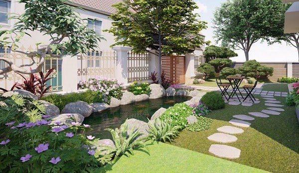 Sân Vườn Đẹp Với Bể Cá 3