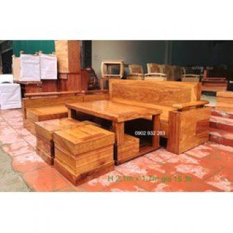 Sofa Gỗ Góc Gỗ Hương 2,1M X 1,7M