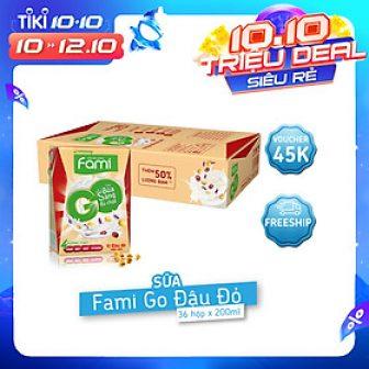 Thùng Sữa Đậu Nành Famigo Đậu Đỏ Nếp Cẩm (200Ml X 36...