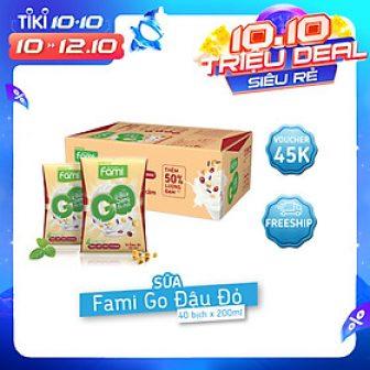 Thùng Sữa Đậu Nành Famigo Đậu Đỏ Nếp Cẩm (200Ml X 40...