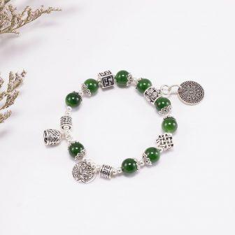 Vòng Tay Ngọc Bích Phối Charm Hoa Sen (10Mm) Ngọc Quý Gemstones